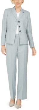 Le Suit Three-Button Notch Collar Pantsuit