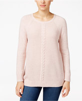Karen Scott Cable-Knit Crew-Neck Sweater, Only at Macy's