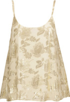 Alice + Olivia Karolina metallic fil coupé silk-blend tank