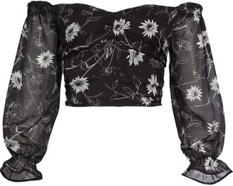 Leith Floral Print Off the Shoulder Crop Top