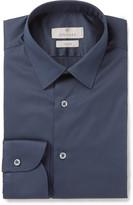 Canali Navy Stretch Cotton-Blend Shirt
