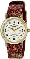 Timex Women's TW2P741009J Weekender Collection Gold-Tone Stainless Steel Watch with Paisley-Printed Band