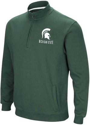 Colosseum Men's Green Michigan State Spartans Big & Tall Playbook Fleece Quarter-Zip Pullover Jacket