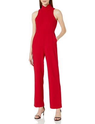 Vince Camuto Women's Sleeveless Mock Neck Crepe Ponte Jumpsuit