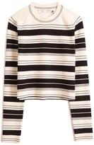 Proenza Schouler Compact Stripe Cropped Crewneck Pullover in Black/Off White