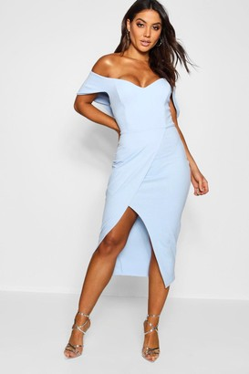boohoo Off the Shoulder Wrap Skirt Midi Dress