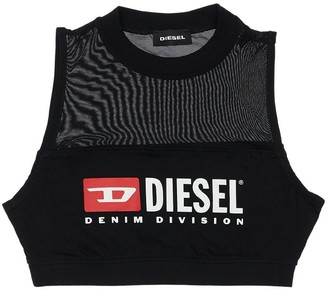 Diesel Logo Print Cotton Jersey & Mesh Crop Top