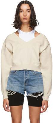 Alexander Wang Off-White Cropped Bi-Layer V-Neck Sweater