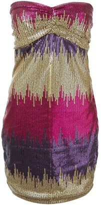 Versace Pre Owned Strapless Sequined Mini Dress