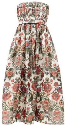 Brock Collection Saura Strapless Floral-print Taffeta A-line Dress - Red Multi