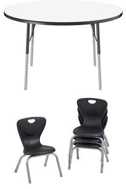 "Factory Dry-Erase 5 Piece Circle Activity Table & 12""H Chair Set Direct Partners Size: 30"" H x 48"" L x 48"" D"