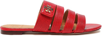 Tory Burch Logo-embellished Lizard-effect Leather Slides