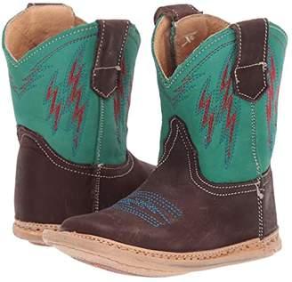 Roper Cowbaby Lightning (Infant/Toddler) (Brown Vamp/Turquoise Shaft/Lightning Embroidery) Cowboy Boots