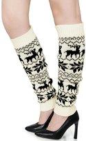 uxcell Women Elastic Cuffs Snowflake Deers Pattern Knee High Leg Warmers Pair