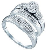 DazzlingRock Collection 0.33 Carat (ctw) 10k White Gold Round Diamond Men's & Women's Micro Pave Engagement Ring Trio Set 1/3 CT