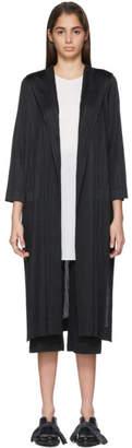 Pleats Please Issey Miyake Black Pleated Hooded Coat