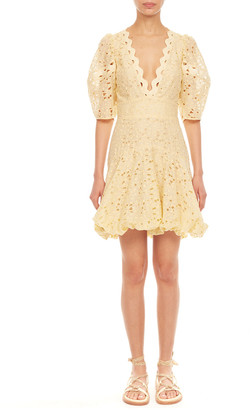 Rebecca Taylor Audrey Short-Sleeve Eyelet Dress