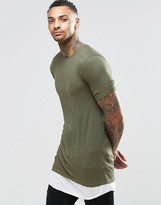 Asos Longline Muscle T-Shirt In Rib With Contrast Hem In Ebony