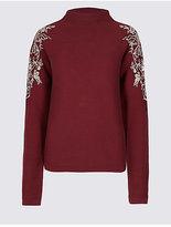Per Una Pure Cotton Embroidered Round Neck Jumper