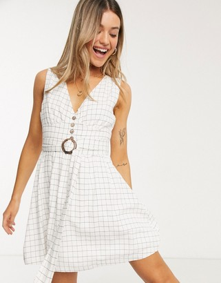 Gilli button down mini dress with belt detail in check