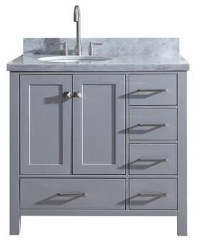 "Three Posts Erithon Modern 37"" Single Bathroom Vanity Set Base Finish: Gray"
