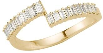 Dana Rebecca Designs 14kt yellow gold Sadie pearl spilt baguette diamond ring