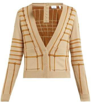 Burberry Chain Intarsia Silk Blend Cardigan - Womens - Beige Multi