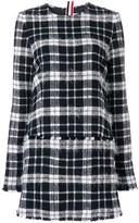 Thom Browne Frayed Tartan Mini Shift Dress In Lightweight Tweed