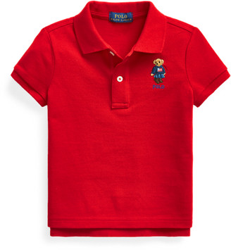 Ralph Lauren Flag Bear Cotton Mesh Polo
