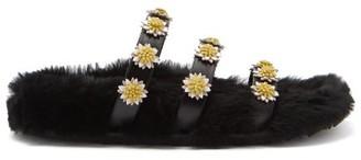 Fabrizio Viti Berkley Daisy-applique Shearling-lined Slides - Black Multi