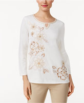 Alfred Dunner Just Peachy Embellished Sweater