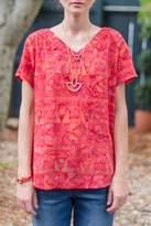 Go Fish Clothing Red Batik Blouse