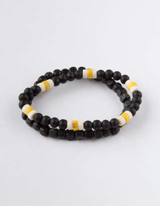 Blue Crown 2 Pack Black & Yellow Beaded Bracelets
