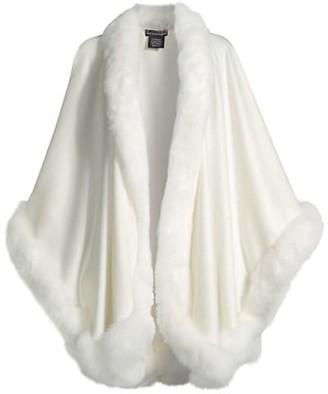 Sofia Cashmere Fox Fur-Trimmed Cashmere Cape