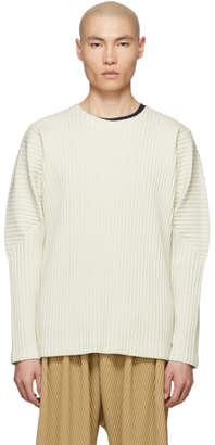 Issey Miyake Homme Plisse Off-White Cotton Surface Long Sleeve T-Shirt