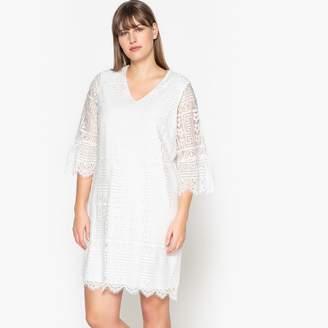 Castaluna Plus Size Plain Short Straight Dress with Long Sleeves