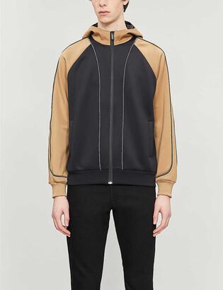 Fendi Funnel-neck contrast-sleeve stretch-jersey hoody