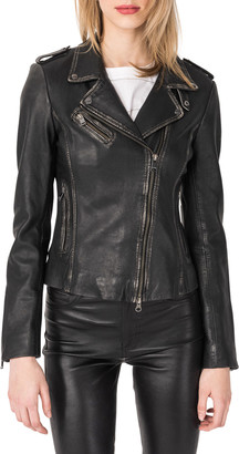 LAMARQUE Harper Fitted Leather Biker Jacket