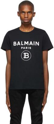 Balmain Black Print Logo T-Shirt