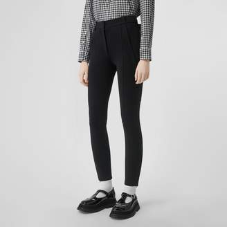 Burberry Strap Detail Stretch Crepe Jersey Trousers