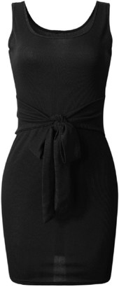 Goodnight Macaroon 'Tabby' Tied Waist Knitted Tank Mini Dress (3 Colors)