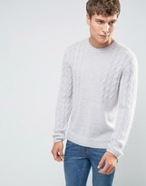 Asos Mohair Mix Cable Sweater in Gray