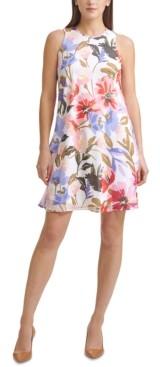 Calvin Klein Floral-Print Chiffon Trapeze Dress