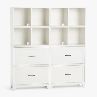 Pottery Barn Teen Hampton Double 2-Shelf Tall Bookcase with Drawers