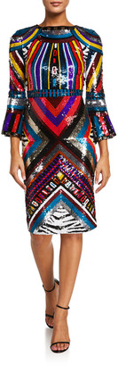 Alice + Olivia Jae Sequined Open-Back Fitted Midi Dress
