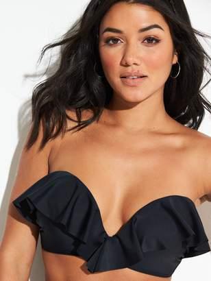 Very Shapewear Underwired Sweetheart Ruffle Push Up Bikini Top - Black