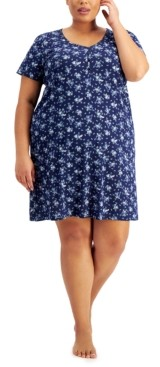 Charter Club Plus Size Short-Sleeve Cotton Nightgown, Created for Macy's