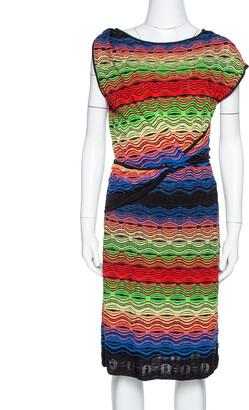 M Missoni Multicolor Wavy Linen Blend Knit Sleeveless Dress M