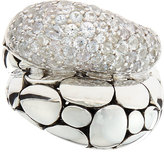 John Hardy Kali Arus Pebble Cocktail Ring with White Sapphires, Size 7