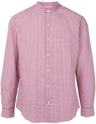 Durban Check Print Mandarin Collar Shirt